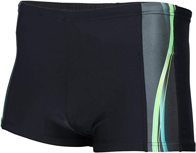 Aquarti Mens Swim Trunks Box Cut with Side Stripes
