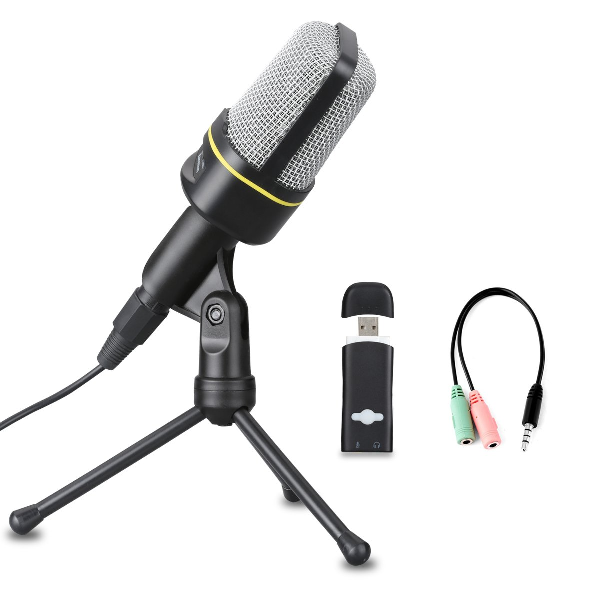 Excelvan Condenser Microphone Black SF-920 3.5mm Desktop Microphone with Volume Control and Tripod Stand Broadcasting Recording Podcasting Studio Mic for Mobile Phones, Laptops, Desktop (Black)