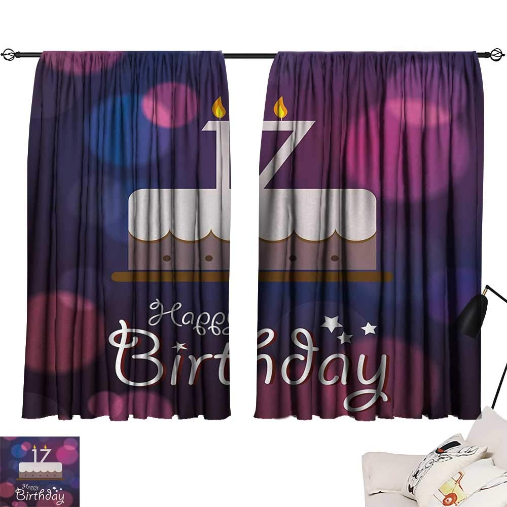 Jinguizi 17th Birthday Two Panels Seventeen Party Cake with Abstract Style Circles Artistic Print Printed Darkening Curtains Lilac Purple and Pink W55 x L39 by Jinguizi (Image #1)