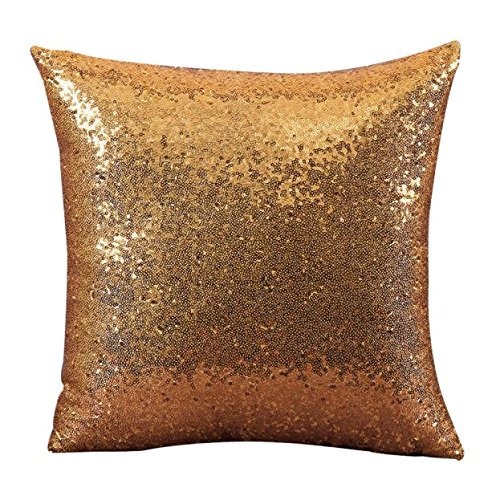 (iYBUIA Solid Color Glitter Sequins Throw Pillow Case Cafe Home Decor Cushion Covers)