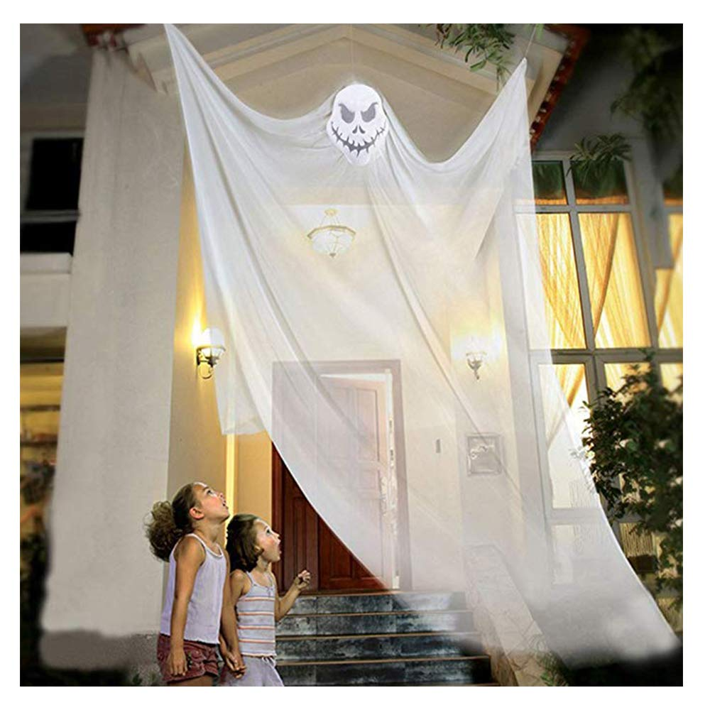 10ft Halloween Props Scary Halloween Ghost Decorations Halloween Hanging Ghost Prop Halloween Hanging Skeleton Flying Ghost Halloween Hanging Decorations for Yard Outdoor Indoor Party Bar (White) LITTLEGRASS