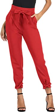 GRACE KARIN Women's Pants Trouser Slim Casual Cropped Paper Bag Waist Pants with Pockets