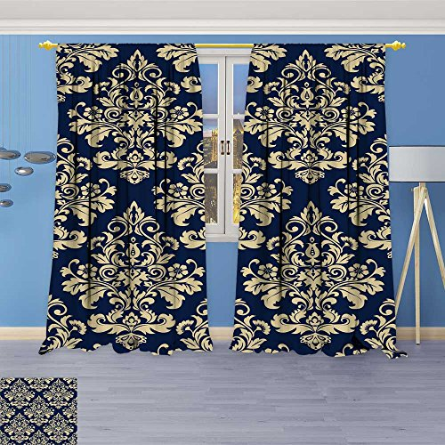 - SOCOMIMI 70% Blackout 2494 Panels Curtains,Wallpaper Baroque Damask Vector Background g and Blue Ornament Thermal Insulated Drapes for Bedroom, 72W x 96L inch