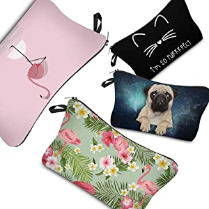 PINK PLOT Makeup Bag for Women - 4 Pieces Cosmetic Bag and Toiletry Bag Used in