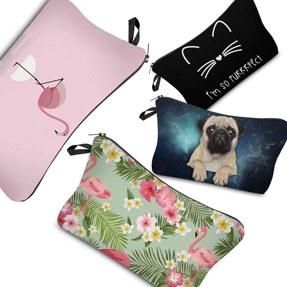 0794c39c07 Amazon.com   PINK PLOT Makeup Bag for Women - 4 Pieces Cosmetic Bag and Toiletry  Bag Used in Travel or As a Valentine s Day gift(dog+cat+flamingo)   Beauty
