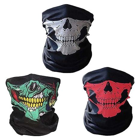 CBValley 3 Piezas Pasamontañas de Calavera Bufanda Multiuso Máscara Facial de Tubo de Motocicleta (Blanco