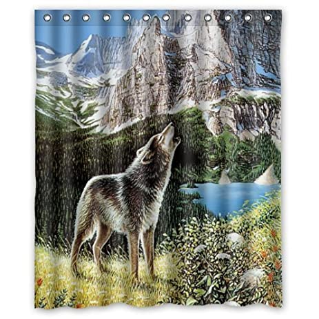 Amazon.com: Special Design Howling Wolf Waterproof Bathroom Fabric ...