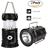 Solar Camping Lantern Led, Lantern Flashlight, Collapsible Rechargeable Lantern Lights Ultra Bright For Outdoor, Emergency, Hurricane, Hiking, Fishing, Tent [2 Pack]