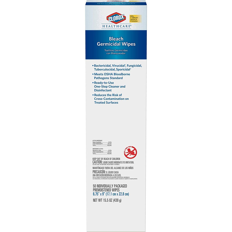 Clorox Healthcare Bleach Germicidal Wipes, 50 Count Individual Packs (31424)