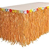 RINCO Luau Natural Color Grass Table Skirt Decoration with Tropical Flowers, 9' x 29 by RINCO