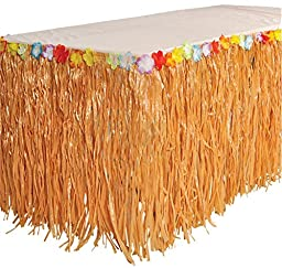 RINCO Luau Natural Color Grass Table Skirt Decoration with Tropical Flowers, 9\' x 29\