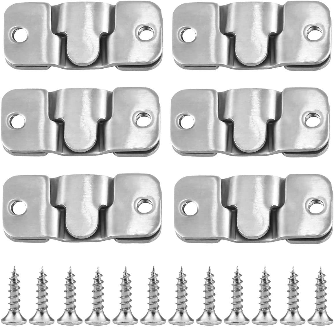 12pcs Flush Mount Bracket, 45x20mm Interlocking Picture Frame Hook, Stainless Steel Picture Bracket, Z Clip Photo Wall Mount Connector for Furniture Photo Hardware Mirrors