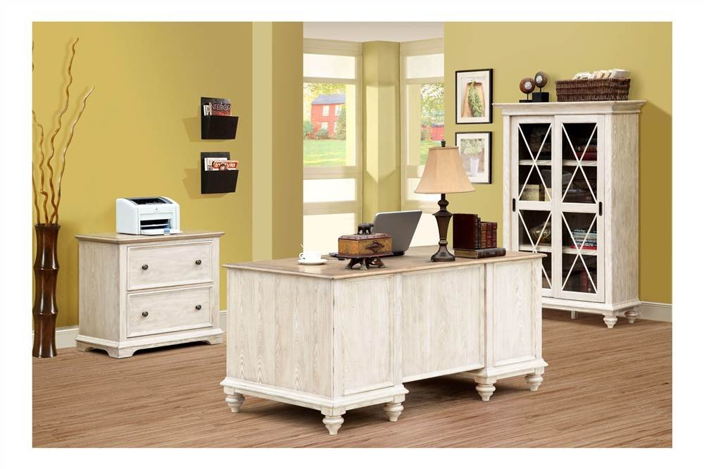 Coventry Two Tone Executive Desk w Drawers (Weathered Driftwood & Dover White) by Riverside Furniture (Image #3)