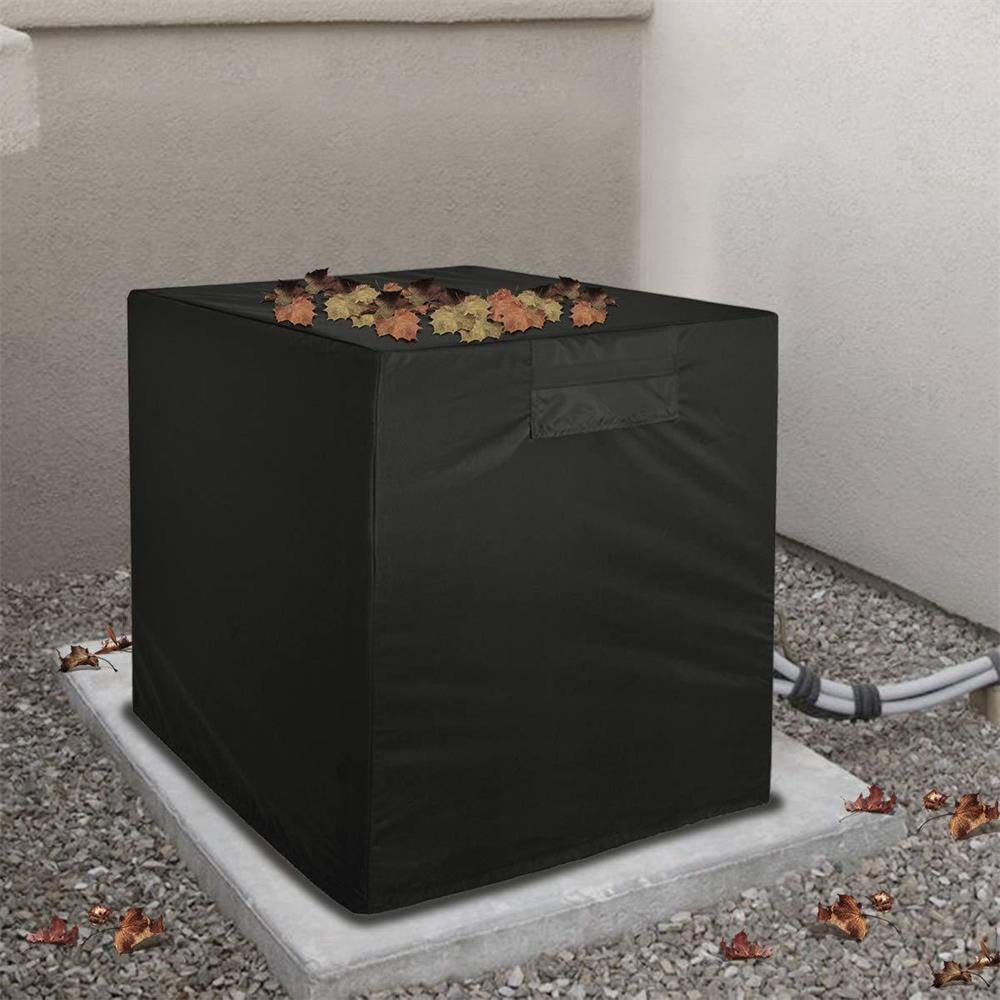 Air Conditioner Cover Waterproof Oxford Cloth Outdoor Air Conditioning Case Cover, Cooling Fan Dust Net Cover, 3 Size (S 24x24x22inch, M 34x34x30 inch, 38x38x39.3 inch), Black (S 61x61x56 cm) TLT Retail