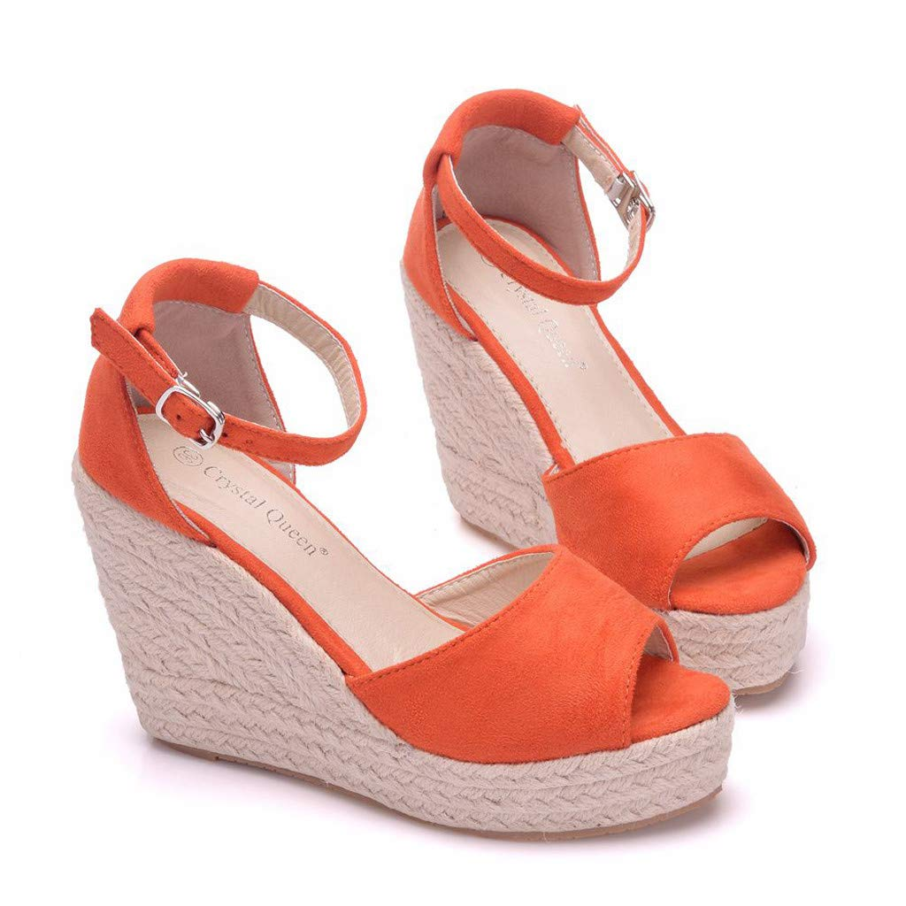 Wedge Sandals for Women,Summer Women Platform Shoes Ankle Strap Espadrille Wedge Heel Sandals (US:6, Orange) by Yihaojia Women Shoes (Image #7)