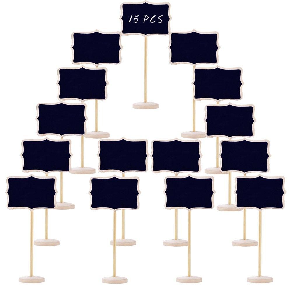 Woohome 2 Pz Lavagna con Hanging String Pasqua Matrimoni Lavagna Segni Double Bifacciale in Legno Cancellabile per Feste Ringraziamento
