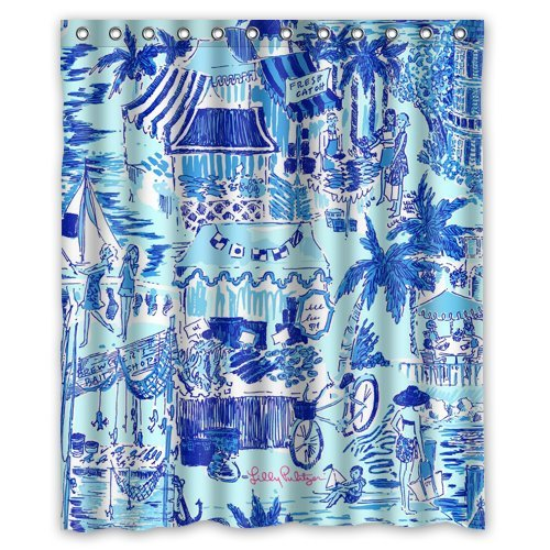 Lilly Pulitzer Summer Prints Blue Custom Shower Curtain 60quot