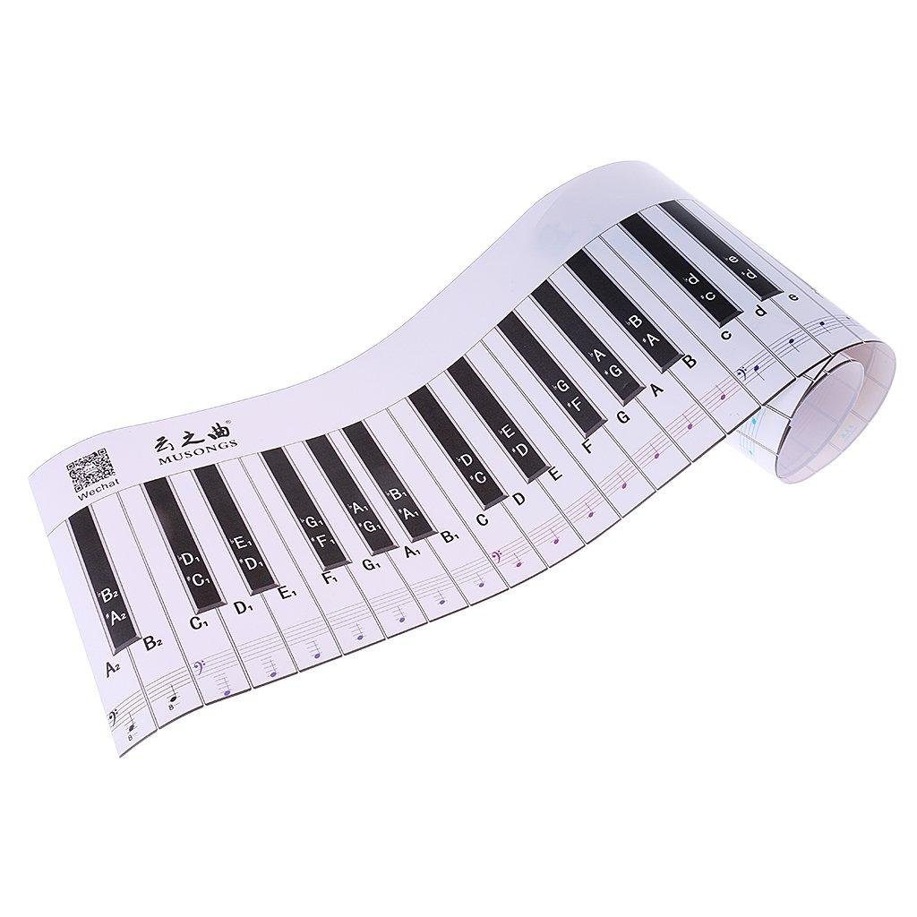 MagiDeal 88 Touche Clavier Autocollant Sticker Piano Simulation pour Débutant - Classic Version 0755005660009FRA