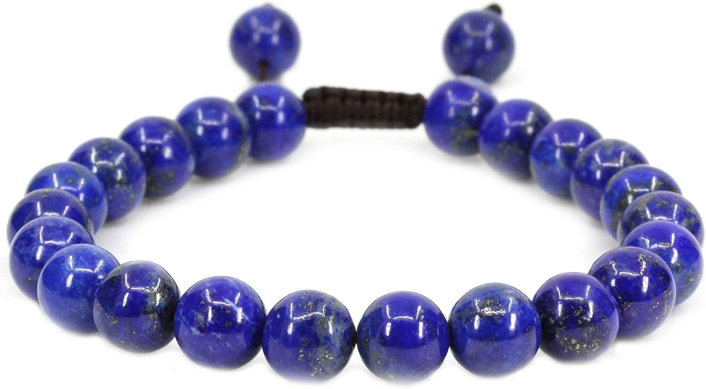 Pulseras unisex con piedras preciosas redondas de 8 mm de grosor, trenzadas de macramé, pulseras de chacra y reiki (17,7 cm - 22,8 cm, unisex)