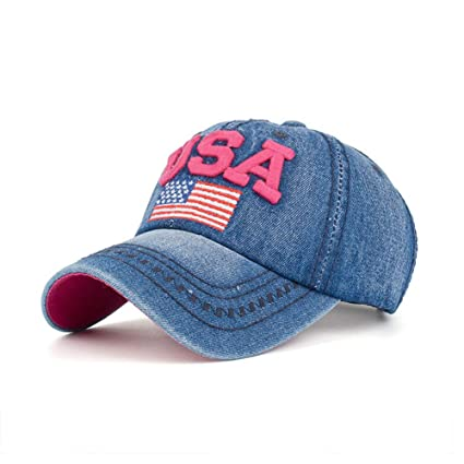 9693ab39c46b0 Baseball Cap Women Denim Hat American Flag Hat USA Embroidered Hats  Adjustable Dad Hats Outdoor Cap