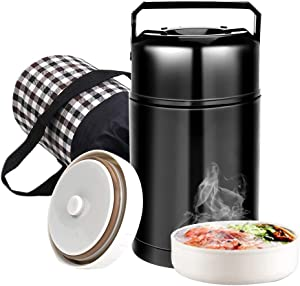 Food Thermos,Flantor Food Jar 33oz Vacuum Insulated Stainless Lunch Thermos with Luch Bag,BPA Free Lunch Box with Handle Lid,Leak Proof Double Wall Vacuum Insulated Soup Container (Black)