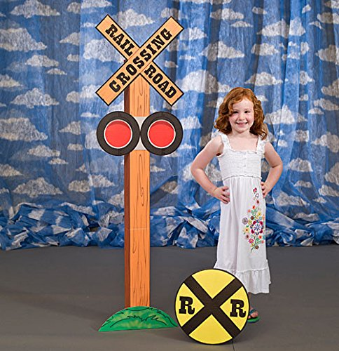 Real Photo Train Railroad - Shindigz Railroad Crossing Standee Train Party Prop Standup Photo Booth Prop Background Backdrop Party Decoration Decor Scene Setter Cardboard Cutout