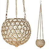 VINCIGANT Gold Hanging Pendant Candle Lantern Holder for Dining Living Room Bar Cafe Decoration with Chain & Hook,Multi Colored LED Starry Copper Wire String Lights Included