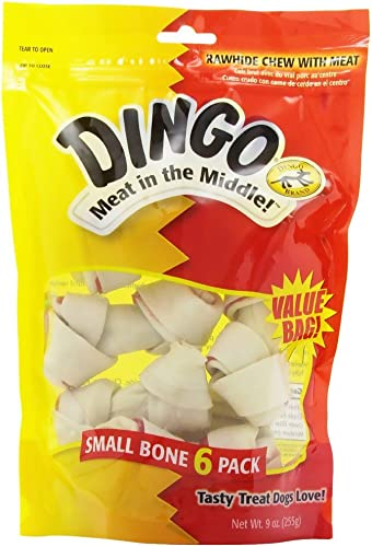 Dingo 95005 Small White Rawhide Dog Bones 6 Count