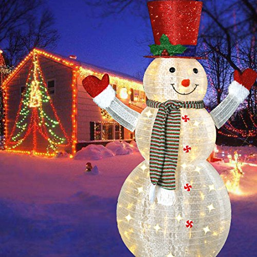 60'' LED Popup Snowman Outdoor Collapsible Lighted Snowman Christmas Yard Decorations with 120 Lights by Jingle light