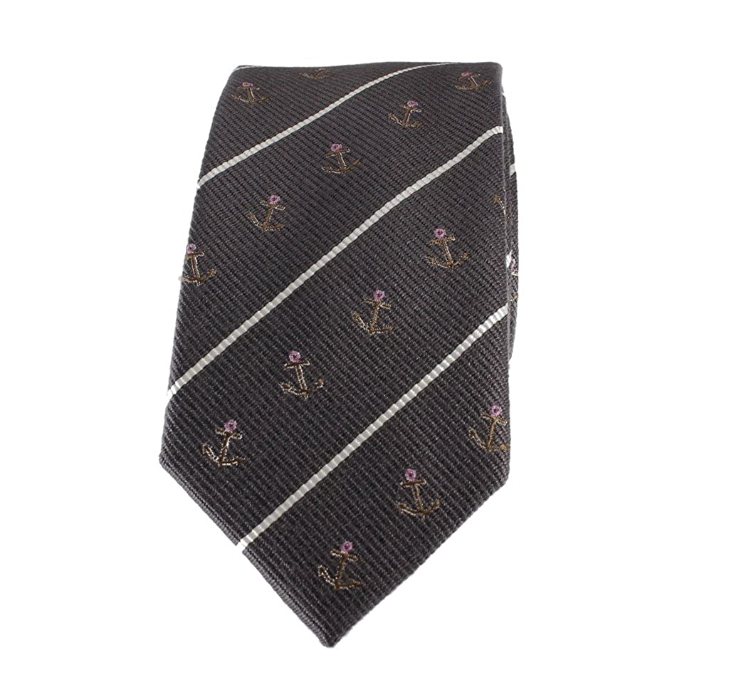 Boys Necktie Charcoal Grey with White and Pink Anchor Accent Fashion Tie