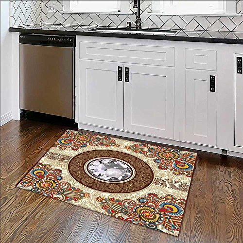 Non-slip Thicken Carpet diamond luxury background Easier to Dry for Bathroom W39'' x H16'' by Auraise Home