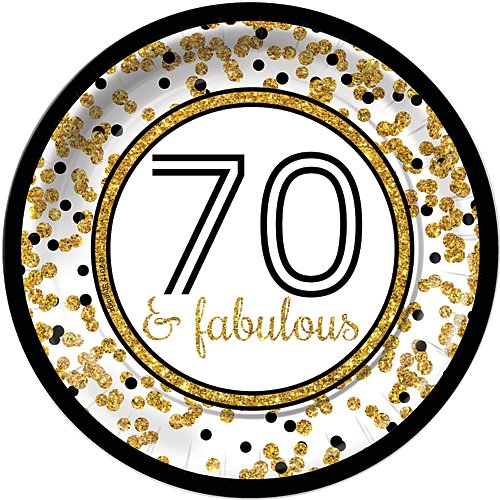 (Cheers to You Gold 70 & Fabulous 70th Birthday Dinner Plates (8) Party Tableware Supplies)