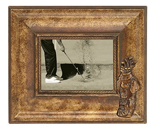 Navika 12x10 Golf Bag Classic Antique Wood Photo Frame - Made to Display 5x7 Photo ()