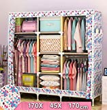 GL&G Closet Wardrobe Clothes Closet System Oxford cloth Clothes Rack Portable Storage Organizer with Shelves and Hanging Rod Home storage consolidation,F,67''67''