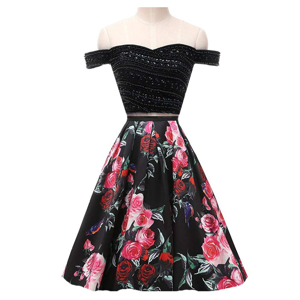 Style 6 Liaoye Off Shoulder Floral Print Long Prom Evening Party Dresses 2 Pieces Beaded Formal Gowns