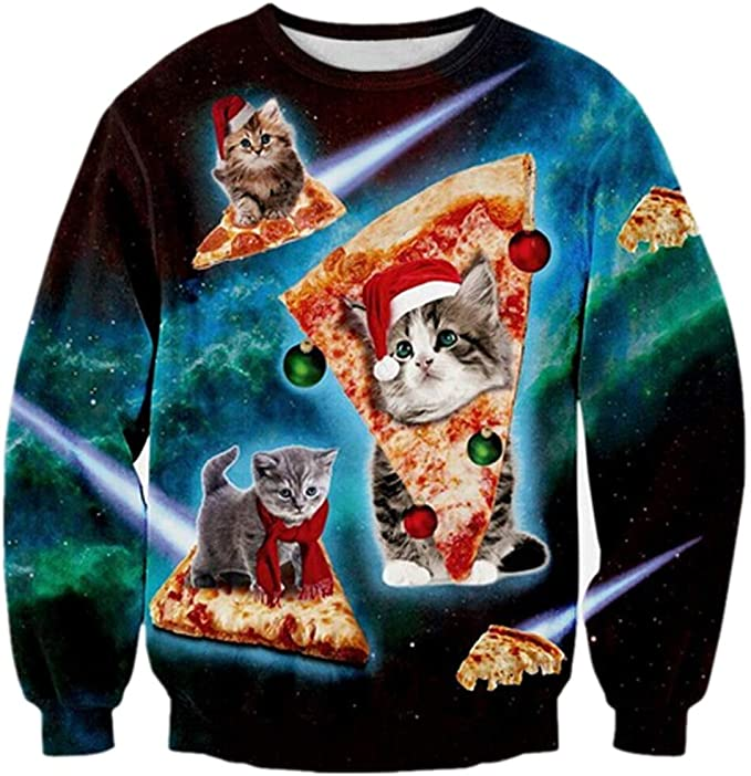Loveternal Unisex Ugly Christmas Sweater Crewneck Sweatshirt Casual Pullover Ugly Christmas Sweater with Cats