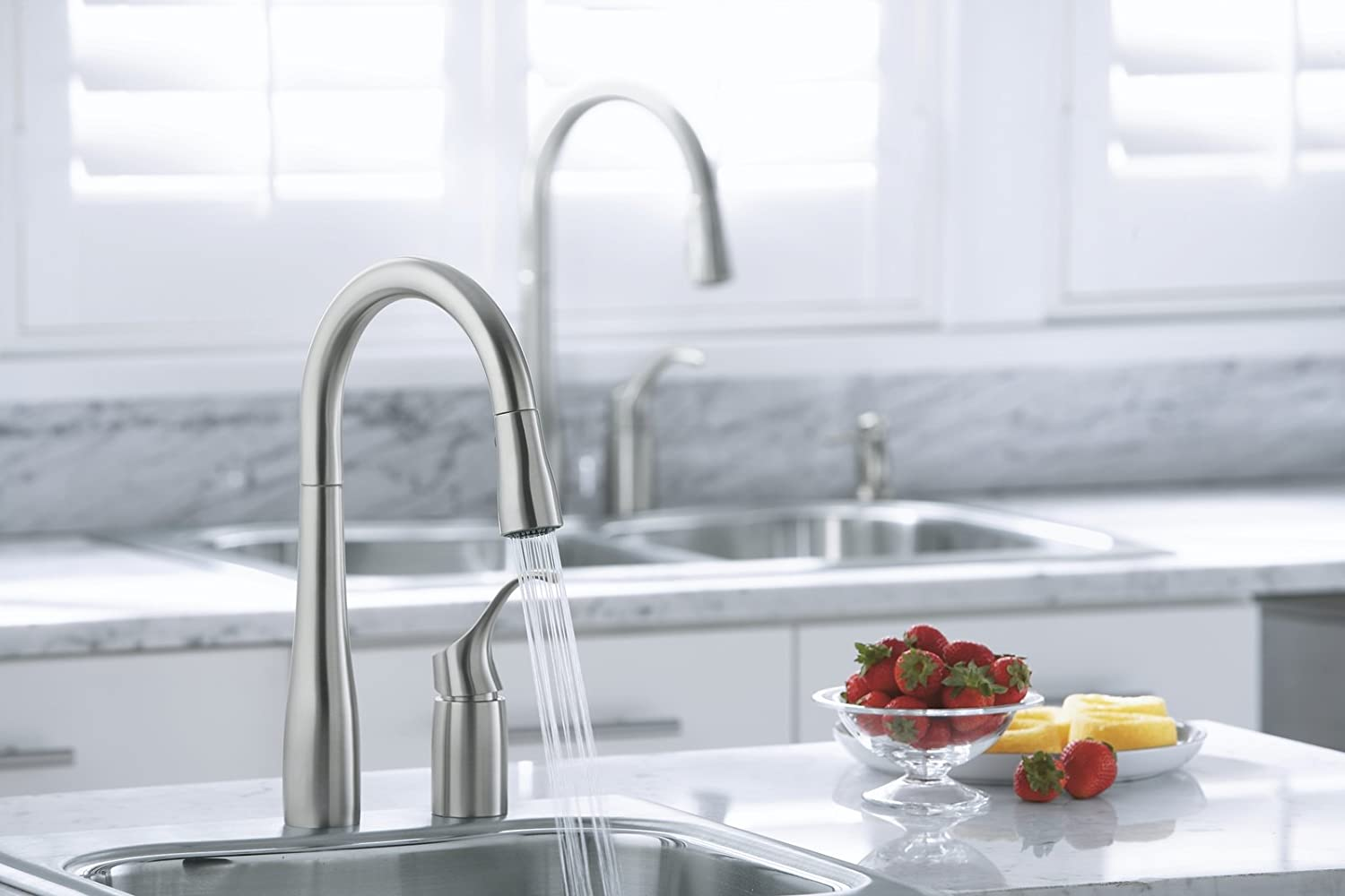 Kohler K-647-VS Simplice Pull-Down Kitchen Sink Faucet (Vibrant ...