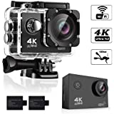 4K Sports Action Camera, Ultra HD, WI-FI, Waterproof Rechargeable Batteries and Mounting Accessories Kits, 170 Degree Wide Angle Lens, 2'' LTPS Screen Camcorder