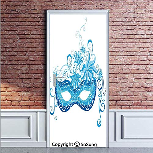 Masquerade Door Wall Mural Wallpaper Stickers,Venetian Style Mask Majestic Impersonating Enjoying Halloween Night Theme,Vinyl Removable 3D Decals 35.4x78.7/2 Pieces set,for Home Decor Blue and Sky -