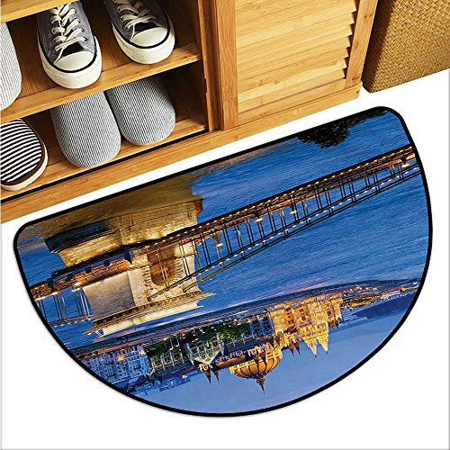 warmfamily European Household Bathroom Door mat River of Budapest at The Evening Illuminated Bridge Hungarian Culture Heritage Environmental Protection W23 x L15 Multicolor ()