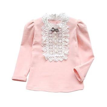 feiXIANG Ropa de bebé niña recién Nacida Chico otoño Invierno niña Encaje más Terciopelo Engrosamiento Camisa