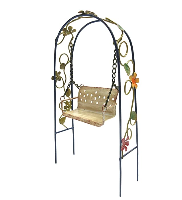 Pacific Giftware Enchanted Mini Fairy Garden Accessories Decorative Metal Arch Shape Arbor Swing with Floral Design 8 inch Tall