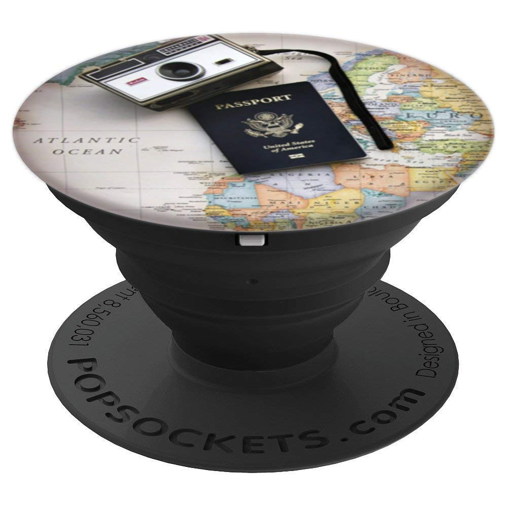 Travel Passport Vintage Camera On World Map Vacation Flight - PopSockets Grip and Stand for Phones and Tablets