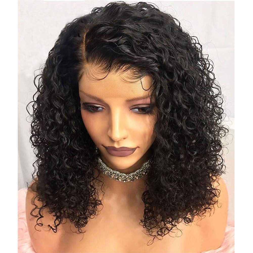 JAHUI Hair Pre Plucked 360 Lace Frontal Wigs with Baby Hair 150%-250% Density Curly Brazilian Virgin Hair 360 Lace Wigs for Black Women(16 inch 180density, curly)