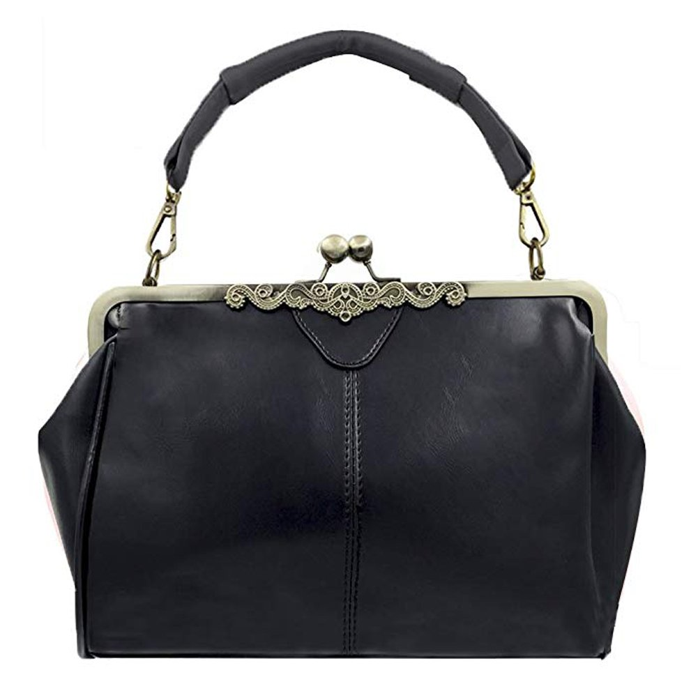 Vintage Style Kiss Lock PU Leather Fashionable Handle Shoulder Bag (Black)