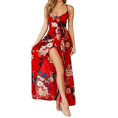 04c09a9f2a5bab LeeY Damen Blumen Drucken Kreuz Gurt Hoch Taille Teilt Kleid Beiläufig  Ärmellos Schlinge Lange Kleid Sexy