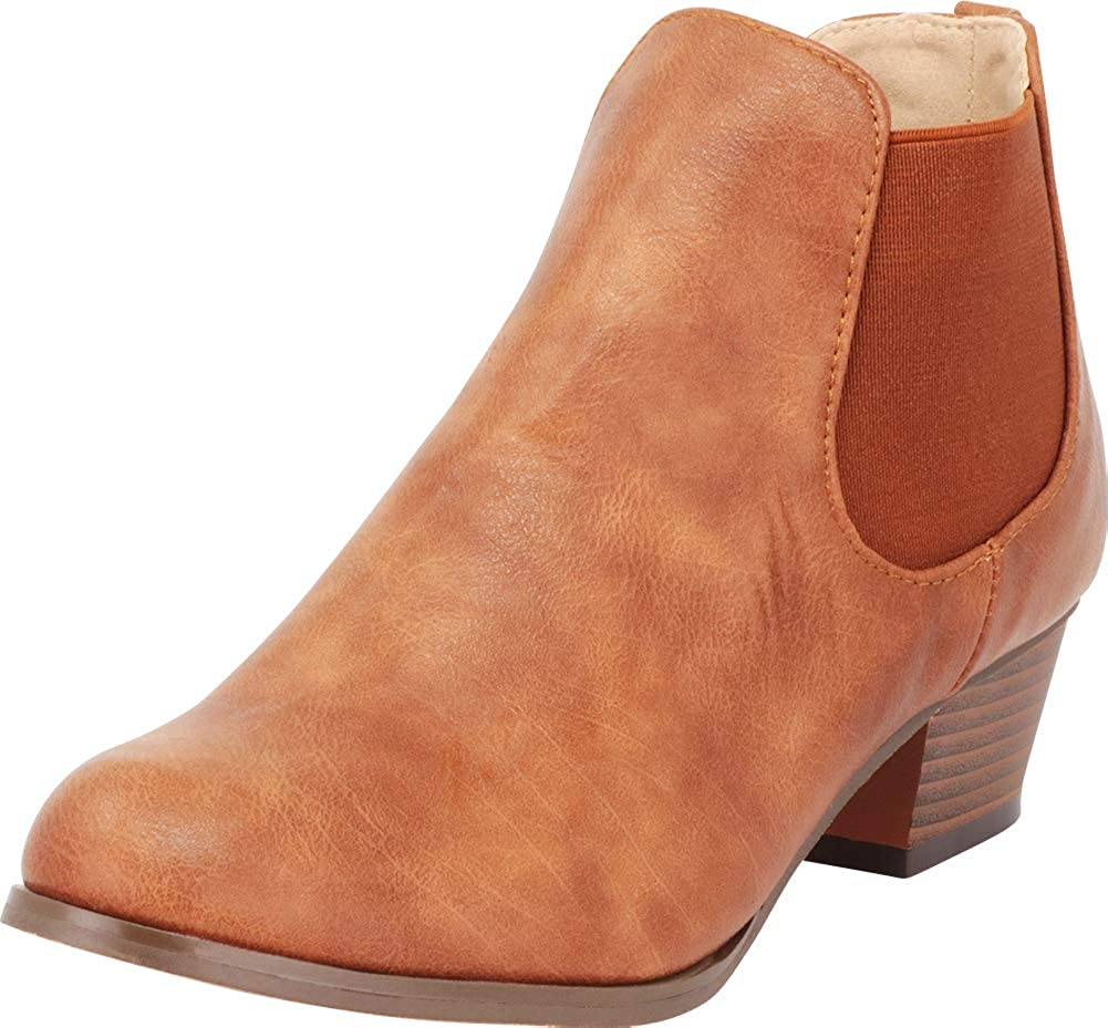 cb512f15c94d Amazon.com  Cambridge Select Women s Chelsea Chunky Stacked Heel Stretch  Ankle Bootie  Shoes