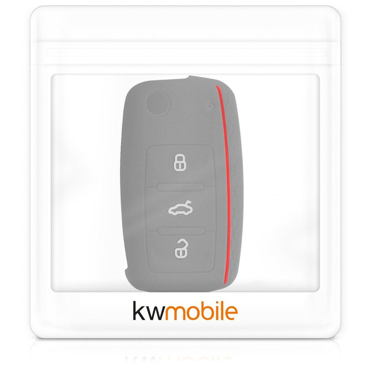 Guscio Protettivo coprichiave Protezione in Silicone Custodia per Chiave VW Skoda Seat con 3 Tasti kwmobile Cover Chiave Auto per VW Skoda Seat