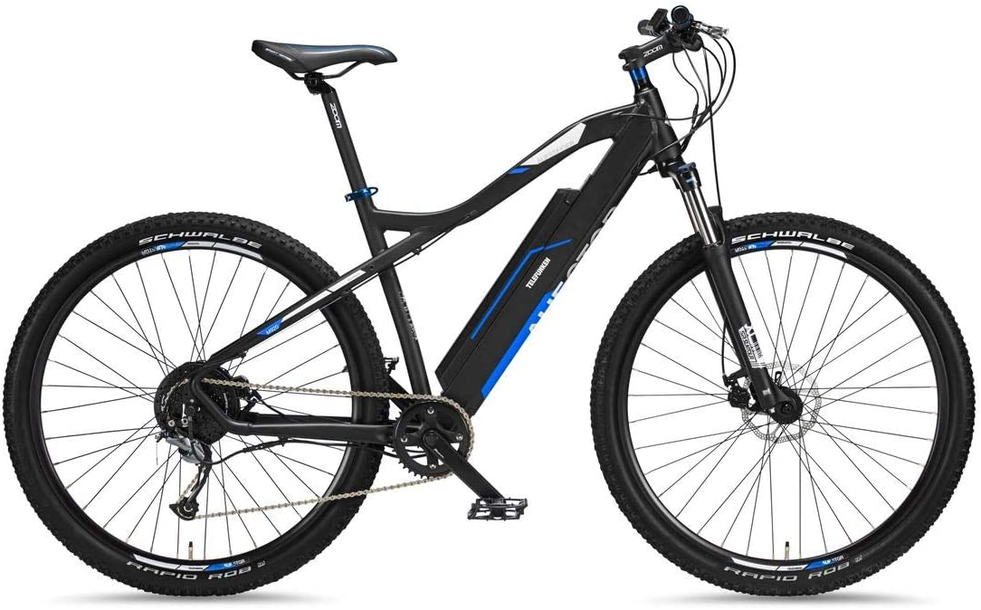 Telefunken Bicicleta de montaña eléctrica de aluminio, cambio Shimano de 9 velocidades, pedelec MTB de 29 pulgadas, motor trasero de 250 W, frenos de disco, color antracita/azul, subida M920