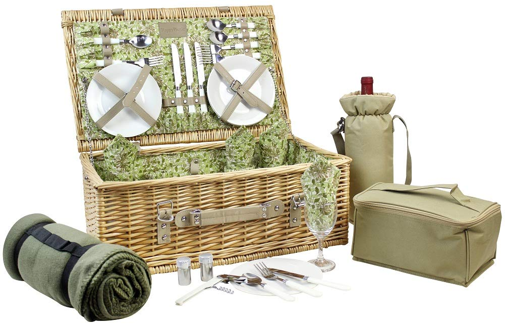 HappyPicnic Picnic Basket for 4, Nature Wicker Picnic Hamper,Willow Picnic Set with Wine Bag, Cooler Tote, Blanket and Tableware